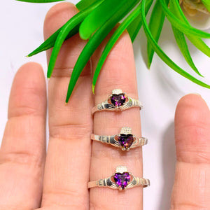 One Faceted Mystic Topaz Claddagh Ring in Sterling Silver