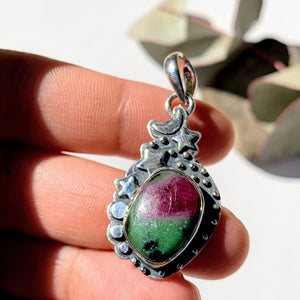 Celestial Moon & Stars Ruby Zoisite Gemstone Pendant in Oxidized Sterling Silver (Includes Silver Chain) #2 - Earth Family Crystals