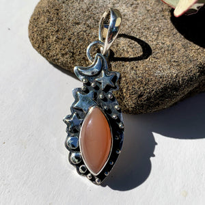 Celestial Moon & Stars Peach Moonstone Gemstone Pendant in Oxidized Sterling Silver (Includes Silver Chain) #1