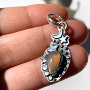 Celestial Moon & Stars Peach Moonstone Gemstone Pendant in Oxidized Sterling Silver (Includes Silver Chain) #2 - Earth Family Crystals