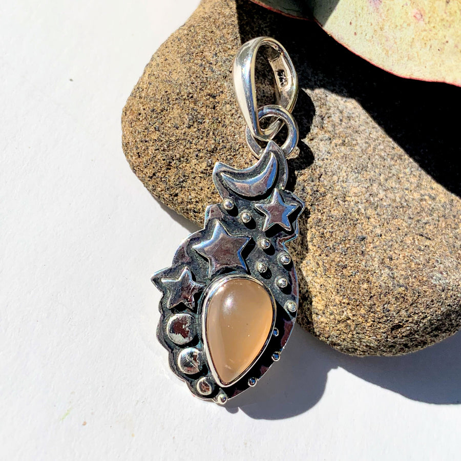 Celestial Moon & Stars Peach Moonstone Gemstone Pendant in Oxidized Sterling Silver (Includes Silver Chain) #2