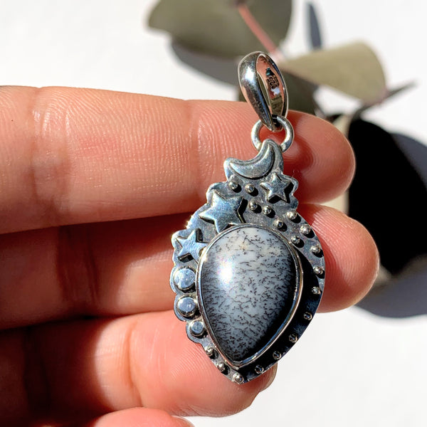 Celestial Moon & Stars Dendritic Agate Gemstone Pendant in Oxidized Sterling Silver (Includes Silver Chain) #1 - Earth Family Crystals
