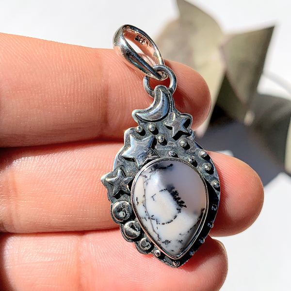 Celestial Moon & Stars Dendritic Agate Gemstone Pendant in Oxidized Sterling Silver (Includes Silver Chain) #2 - Earth Family Crystals