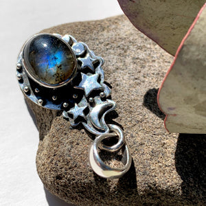 Celestial Moon & Stars Labradorite Gemstone Pendant in Oxidized Sterling Silver (Includes Silver Chain) #1