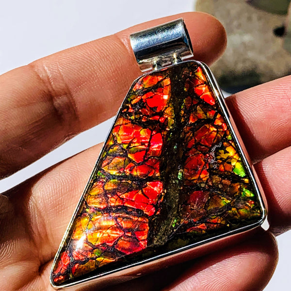 Chunky XL Incredible Flashes Alberta Ammolite Pendant in Sterling Silver (Includes Silver Chain) - Earth Family Crystals