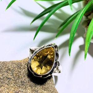 Citrine Faceted Ring in Sterling Silver (Size 8)
