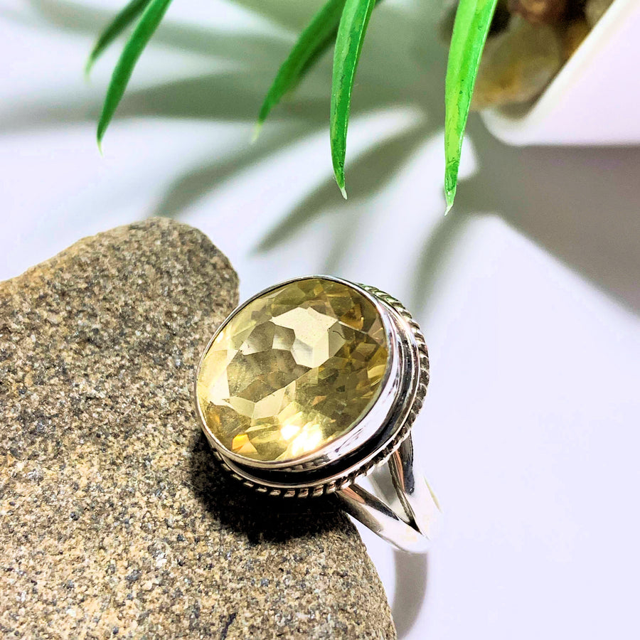 Citrine Faceted Ring in Sterling Silver (Size 7)
