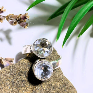 Clear Quartz Faceted Double Stone Sterling Silver Ring (Size Adjustable 8-9) - Earth Family Crystals
