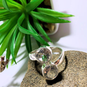 Clear Quartz Faceted Double Stone Sterling Silver Ring (Size Adjustable 8-9)