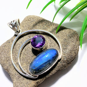 Gorgeous Faceted Amethyst & Flashy Labradorite Sterling Silver Pendant (Includes Silver Chain) #1 - Earth Family Crystals
