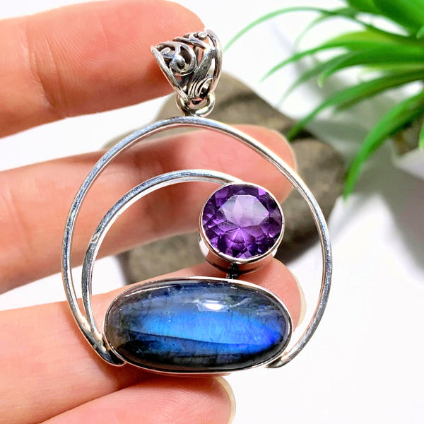Gorgeous Faceted Amethyst & Flashy Labradorite Sterling Silver Pendant (Includes Silver Chain) #1