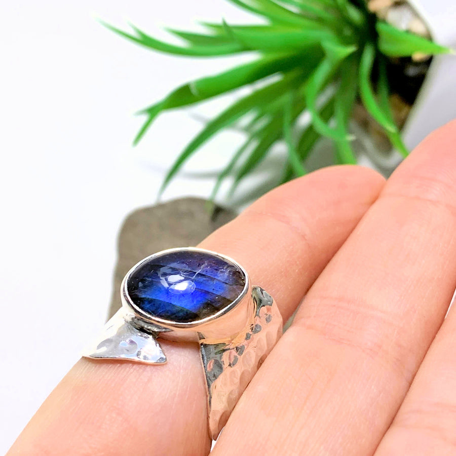 Pretty Royal Blue Flashes Labradorite Sterling Silver Ring (Size 7.5) - Earth Family Crystals