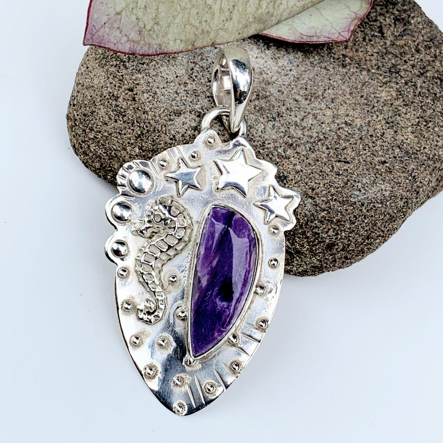 Lovely Seahorse & Stars Silky Purple Charoite Pendant In Sterling Silver (Includes Silver Chain) - Earth Family Crystals