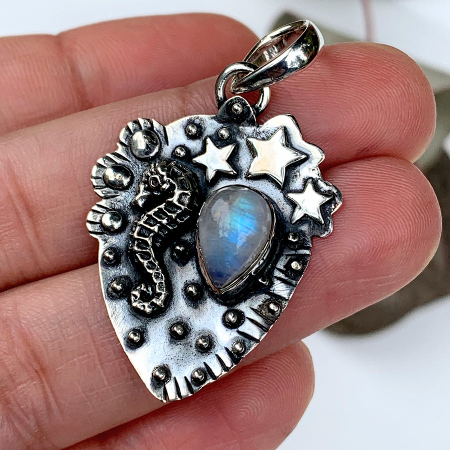 Lovely Seahorse & Stars Rainbow Moonstone Gemstone Pendant in Oxidized Sterling Silver (Includes Silver Chain)