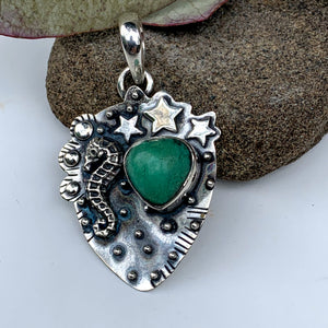 Lovely Seahorse & Stars Green Chrysoprase Oxidized Sterling Silver Pendant (Includes Silver Chain) - Earth Family Crystals