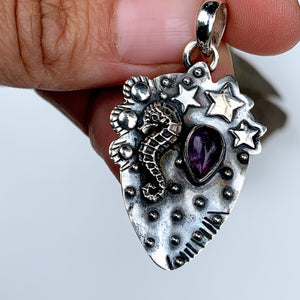 Delightful Seahorse & Stars Amethyst Oxidized Sterling Silver Pendant (Includes Silver Chain) - Earth Family Crystals