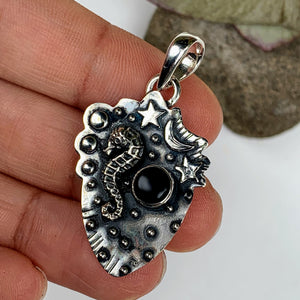 Mystical Seahorse, Moon & Stars Black Onyx Oxidized Sterling Silver Pendant (Includes Silver Chain) - Earth Family Crystals
