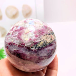 Reserved For Lizabet M. Rubellite Tourmaline & White Quartz Large Sphere From Madagascar #2