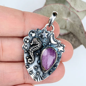Mystical Seahorse, Moon & Stars Stichtite Oxidized Sterling Silver Pendant (Includes Silver Chain) - Earth Family Crystals