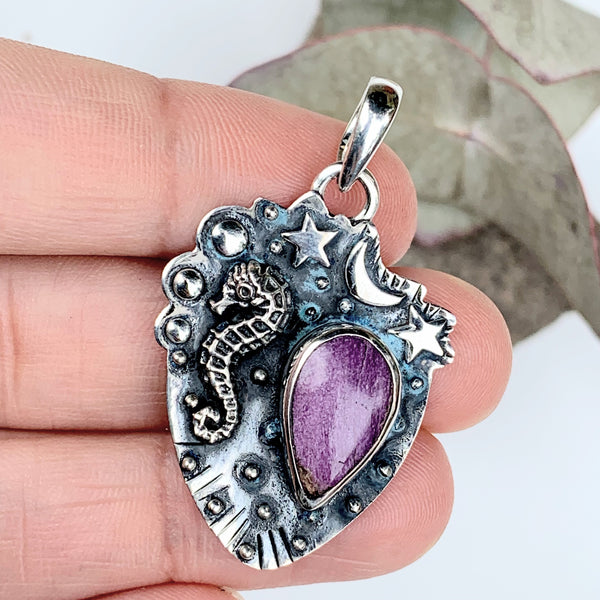 Mystical Seahorse, Moon & Stars Stichtite Oxidized Sterling Silver Pendant (Includes Silver Chain)