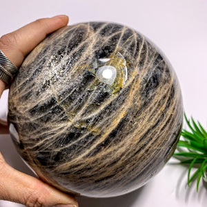 3.3 KG Jumbo Supreme! Mysterious Shimmer Black Moonstone Sphere Carving~Locality Madagascar