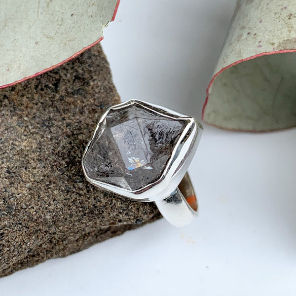 Fabulous Raw & Unpolished NY Herkimer Diamond Free form Sterling Silver Ring (Size 5) #3