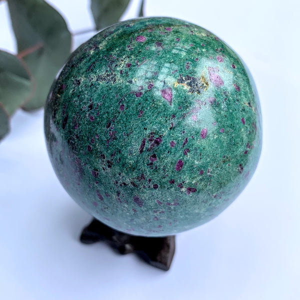 Beautiful Color Contrast Large Ruby Fuschite Sphere Carving