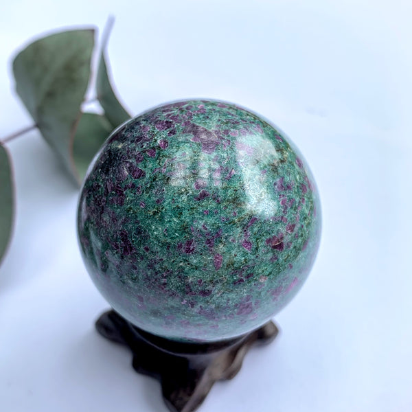 Stunning Color Contrast Ruby Fuschite Sphere Carving