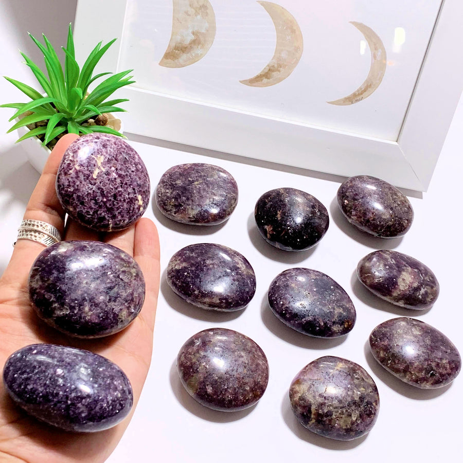 One Smooth & Soothing Deep Lilac Lepidolite Palm Stone