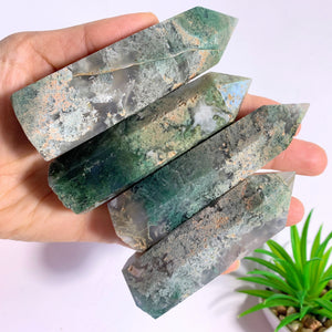 One Polished Moss Agate Standing Display Tower