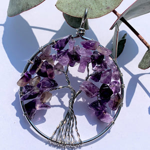 Tree of Life Amethyst Wire Wrapped Pendant