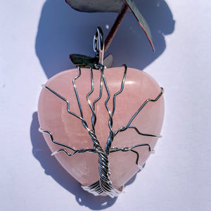Rose Quartz Tree of Life Wire Wrapped Pendant #1