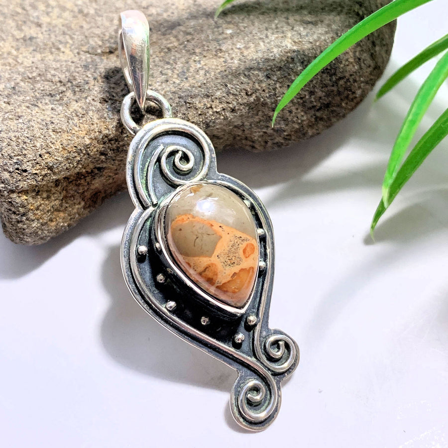 Leopard Skin Jasper Elegant Sterling Silver Pendant (Includes Silver Chain) - Earth Family Crystals