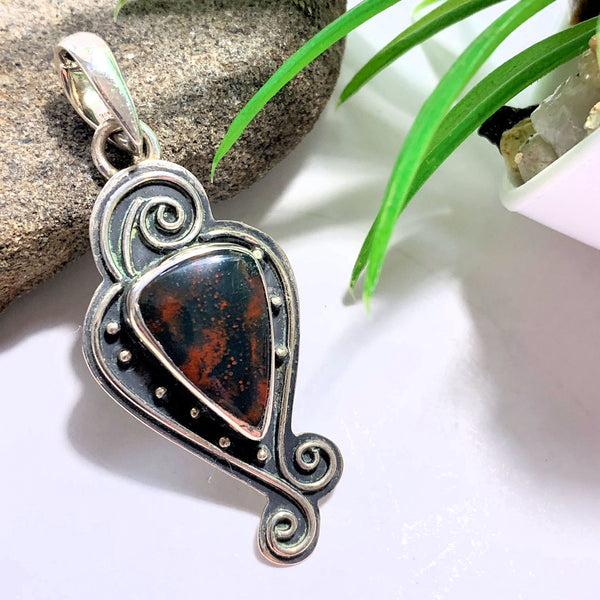 Bloodstone Elegant Sterling Silver Pendant (Includes Silver Chain)
