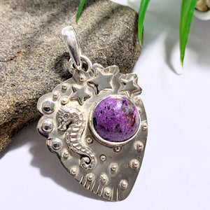 Gorgeous Deep Purple Stichtite Trendy Sterling Silver Pendant (Includes Silver Chain) - Earth Family Crystals