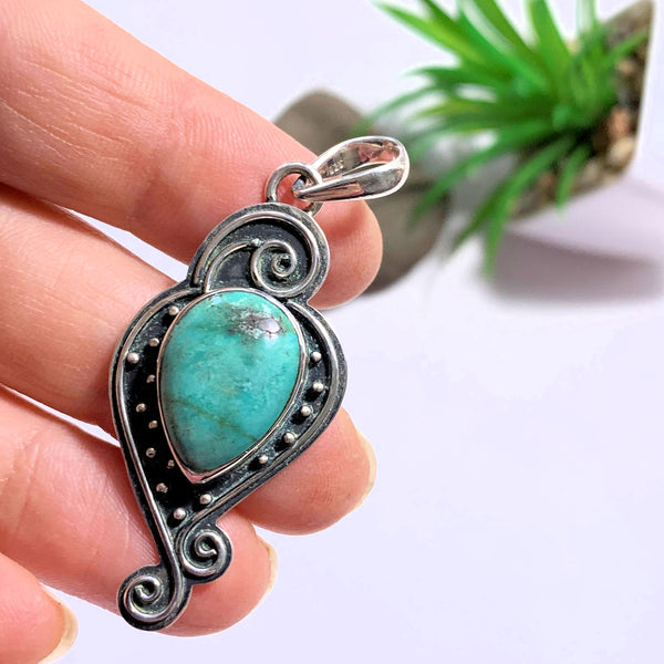Elegant Tibetan Turquoise Sterling Silver Pendant (Includes Silver Chain) - Earth Family Crystals