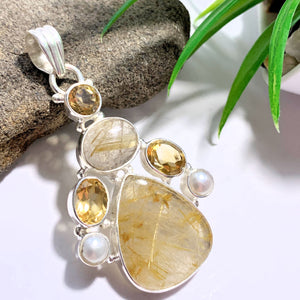 Golden Rutilated Quartz-Faceted Citrine & Pearl Sterling Silver Pendant (Includes Silver Chain)