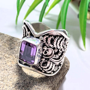 Faceted Purple Amethyst Elegant Sterling Silver Ring (Size 6.5) - Earth Family Crystals