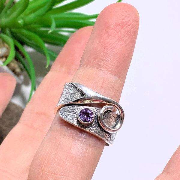Cute Lavender Purple Faceted Amethyst Sterling Silver Ring (Size 8) - Earth Family Crystals