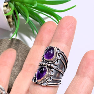 Chunky Deep Purple Double Amethyst Statement Sterling Silver Ring (Size 5.5)
