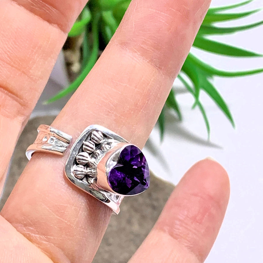 Faceted Deep Purple Amethyst Heart Sterling Silver Ring (Size Adjustable~9-10.5) - Earth Family Crystals