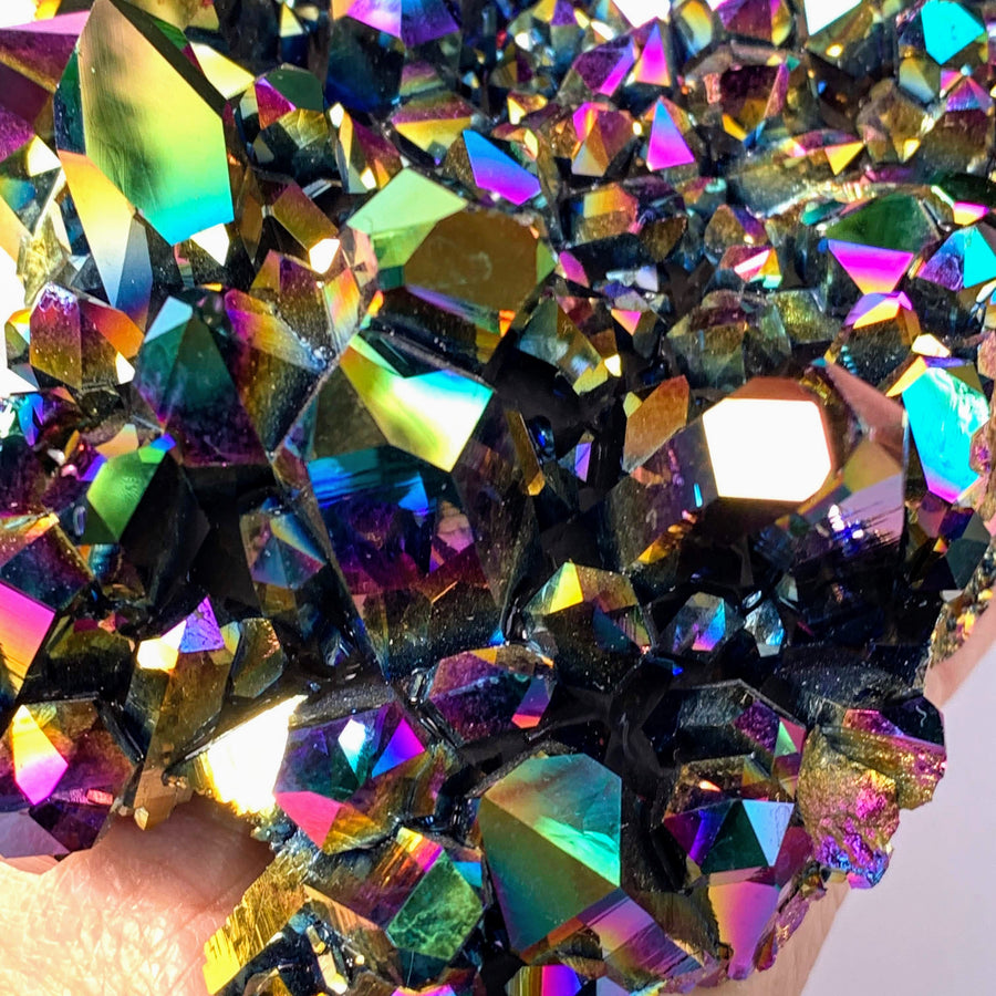 Incredible XXL Rainbow Titanium Quartz Cluster With DT Elestial Points From Arkansas
