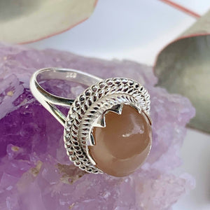 Elegant Creamy Peach Moonstone Gemstone Ring in Sterling Silver (Size 7) - Earth Family Crystals