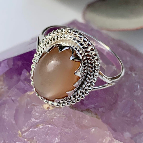 Elegant Creamy Peach Moonstone Gemstone Ring in Sterling Silver (Size 9) - Earth Family Crystals