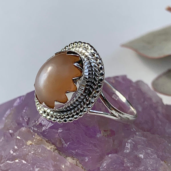 Elegant Creamy Peach Moonstone Gemstone Ring in Sterling Silver (Size 10) - Earth Family Crystals