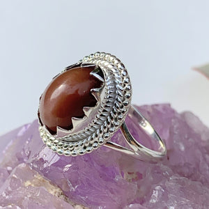 Elegant Style~Deep Peach Moonstone Gemstone Ring in Sterling Silver (Size 8)