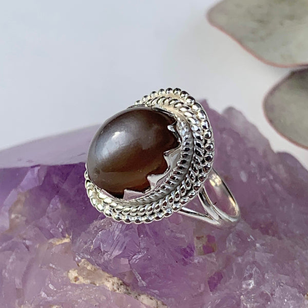 Flashy Grey & Peach Moonstone Gemstone Ring in Sterling Silver (Size 6)