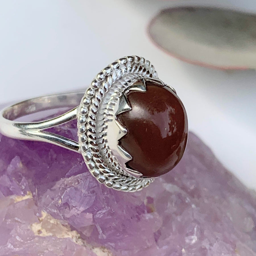 Elegant Style~Deep Peach Moonstone Gemstone Ring in Sterling Silver (Size 10) - Earth Family Crystals