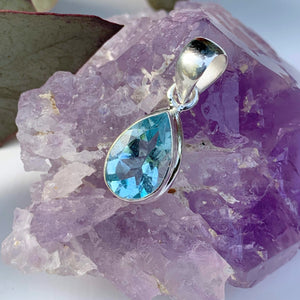 Delightful Brilliant~Faceted Blue Topaz Dainty Pendant in Sterling Silver (Includes Silver Chain) #1