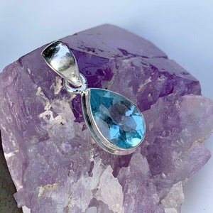 Delightful Brilliant~Faceted Blue Topaz Dainty Pendant in Sterling Silver (Includes Silver Chain) #1 - Earth Family Crystals
